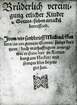 Schleitheim Confession - GAMEO